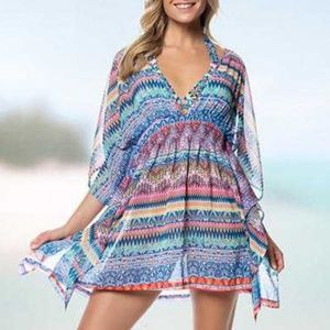 Jessica Simpson Chiffon Open Back Cover-up Dress